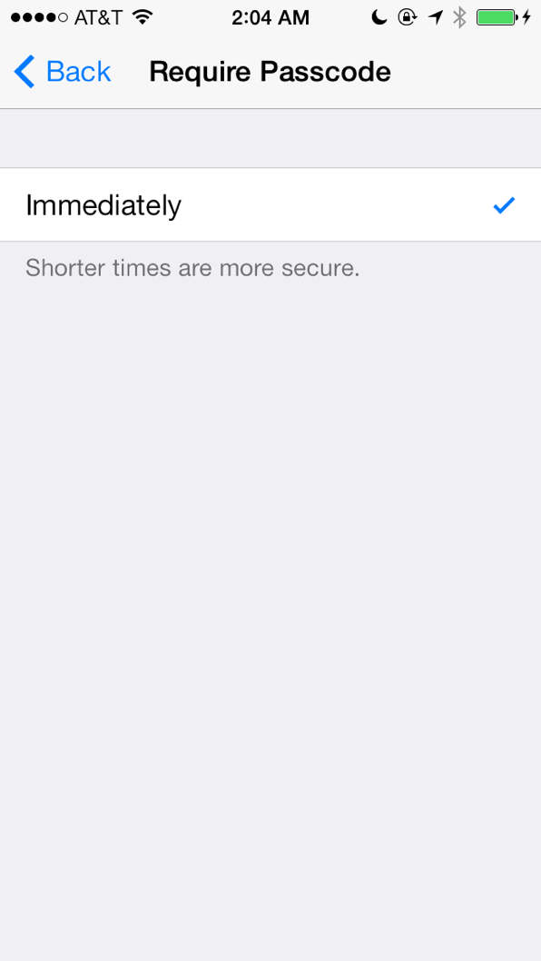 The Require Passcode screen, with Touch ID enabled